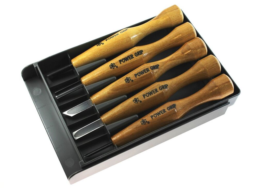 ... 5pcs Power Grip Wood Carving Tool Kit U V Gouge Chisel Set | eBay