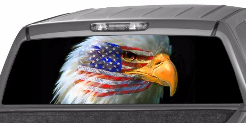 Bald Eagle American Flag Warbird Flag Face Rear Window