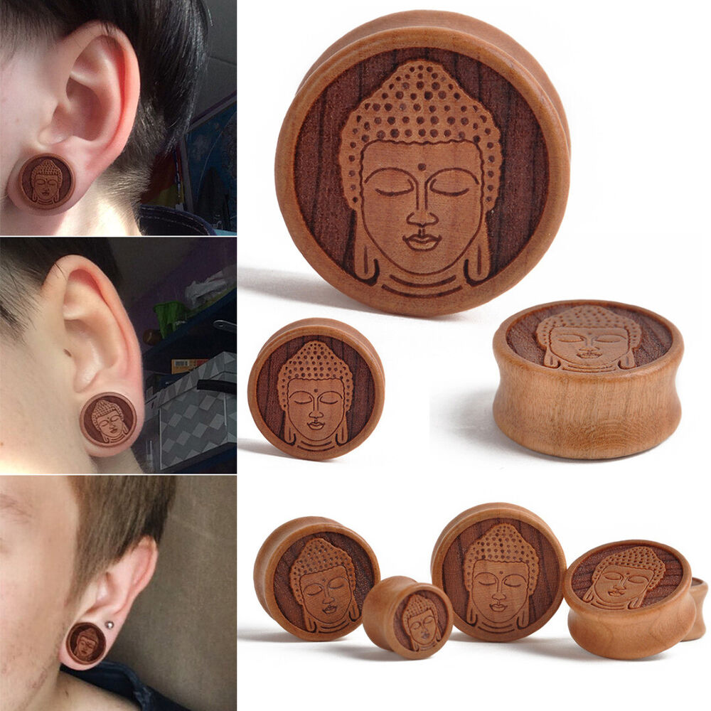 Pair Meditating Buddha Organic Wood Flesh Tunnels Ear