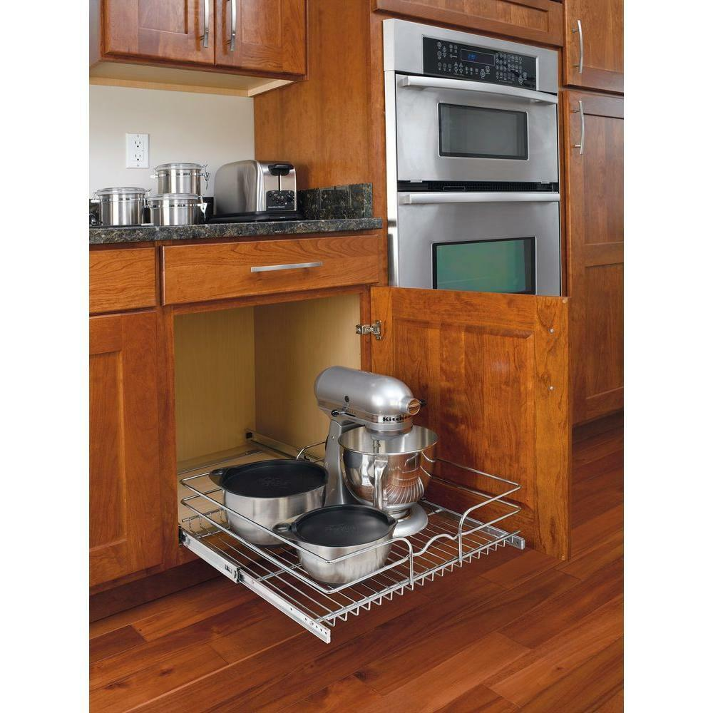 Pull out wire basket base cabinet chrome kitchen storage for Kitchen cabinet shelves