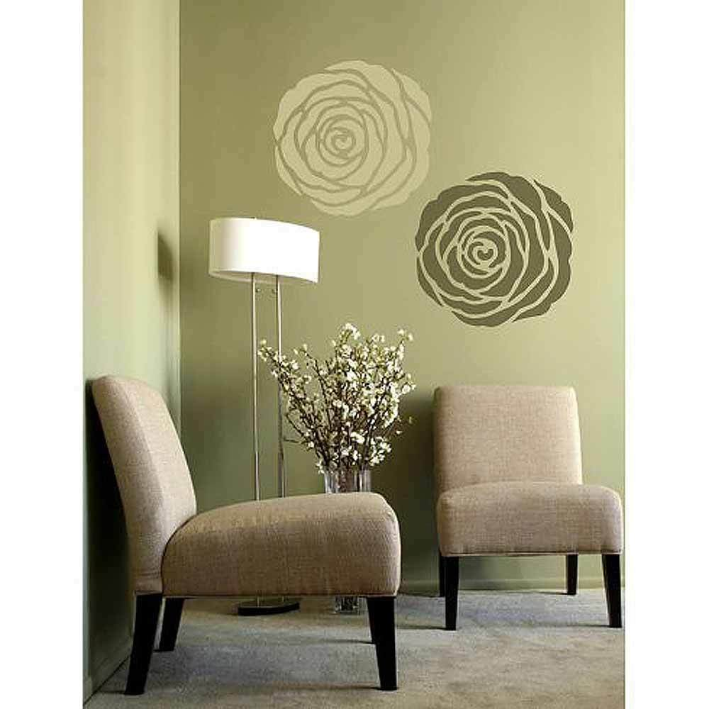 Rose stencil wall art medium stencil design for home for Stencil wall art