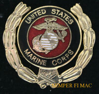 US MARINE CORPS WREATH HAT LAPEL PIN MARINES GOLD OUTLAY GIFT VETERAN USMC WOW