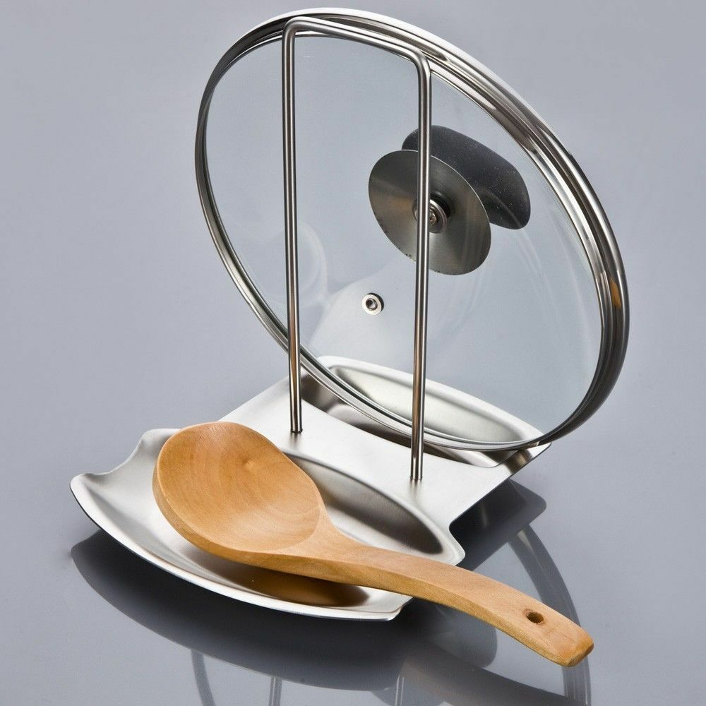 Stainless Steel Pan Pot Rack Cover Lid Rest Stand Spoon