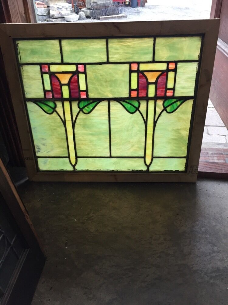 Sg 388 antique arts and crafts stainglass window ebay for Arts and crafts glass