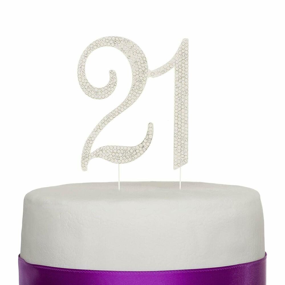 21 Cake Topper 21st Birthday Party Silver Number