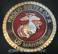 PROUD SISTER OF A US MARINE HAT PIN MARINES IRAQ BROTHER MOM DAD MCRD GRADUATION