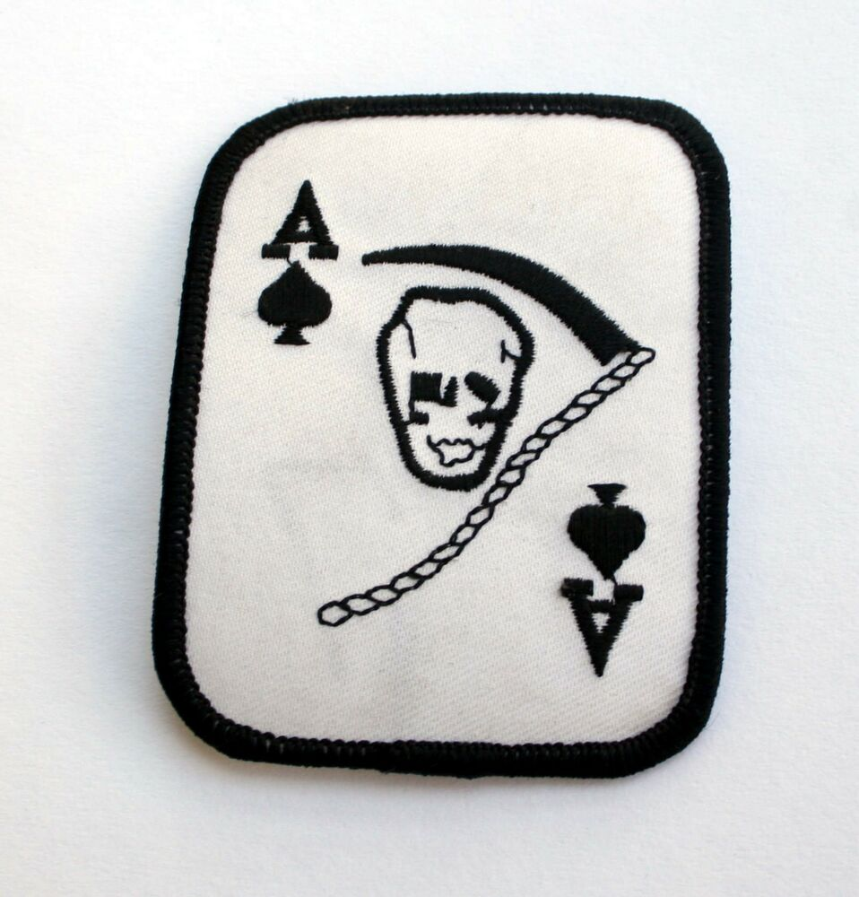 ACE OF SPADES PATCH DEATH CARD GRIM REAPER SKULL WOW