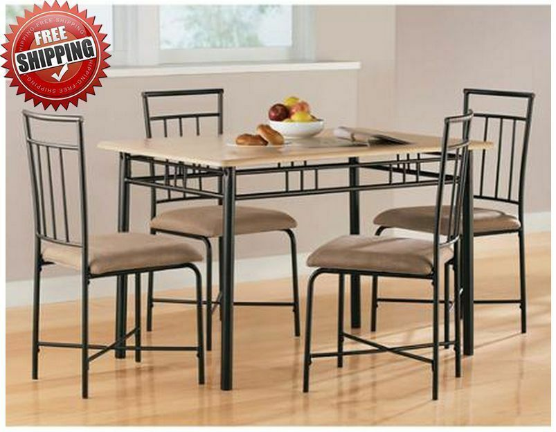 Small dining set 4 chairs table living room compact kitchen furniture