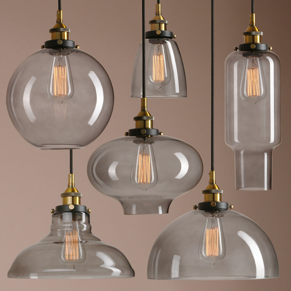 Old Industrial Pendant Light: RETRO VINTAGE INDUSTRIAL SMOKEY GLASS SHADE LOFT PENDANT