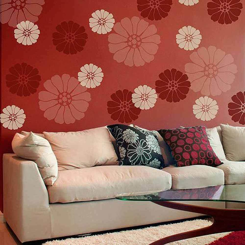 Wall Art Decor Stencils : Lovely bloom floral wall art stencil extra small easy