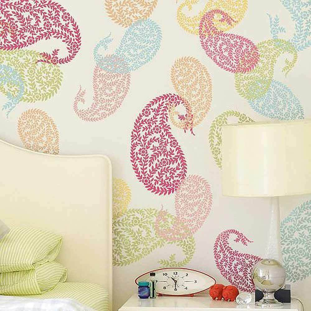 Jaipur paisley wall art stencil medium reusable ethnic for Wallpaper for home walls jaipur