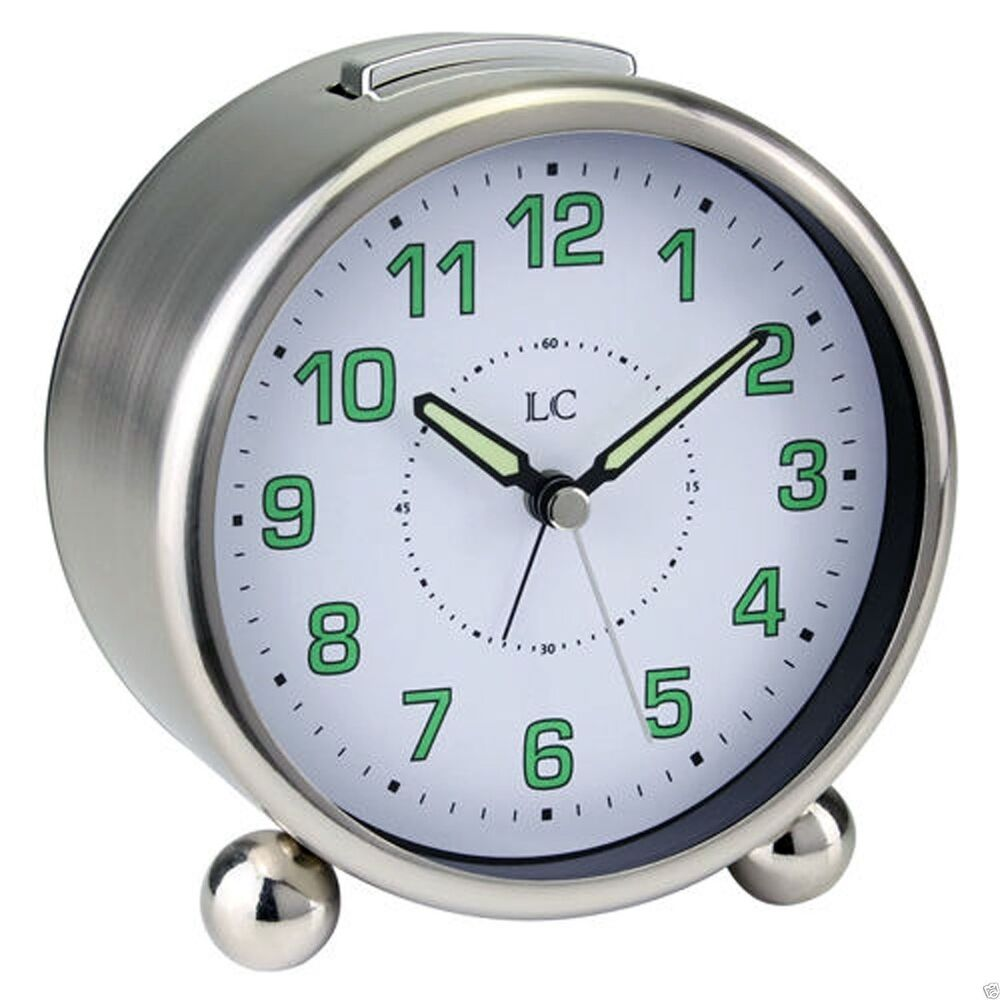 Traditional Round Metal Alarm Bedside Clock Luminous Hands