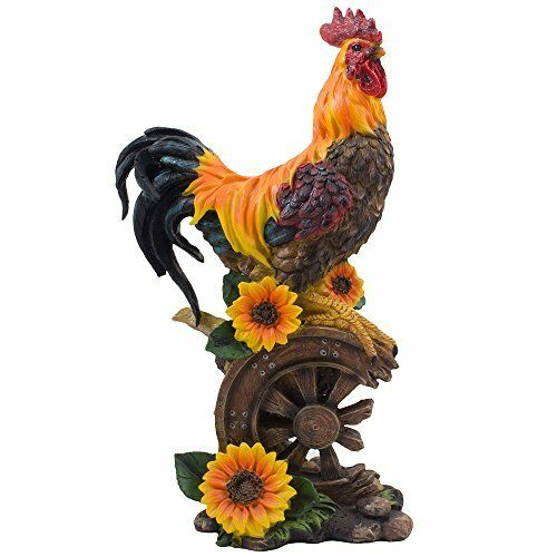 Proud Rooster Statue With Sunflower Accents For Rustic