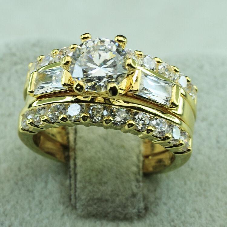 18k yellow gold filled cz engagement wedding women bands for 18k gold wedding ring set