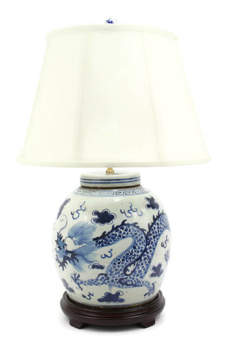 Vintage Style Blue And White Dragon Motif Porcelain Ginger