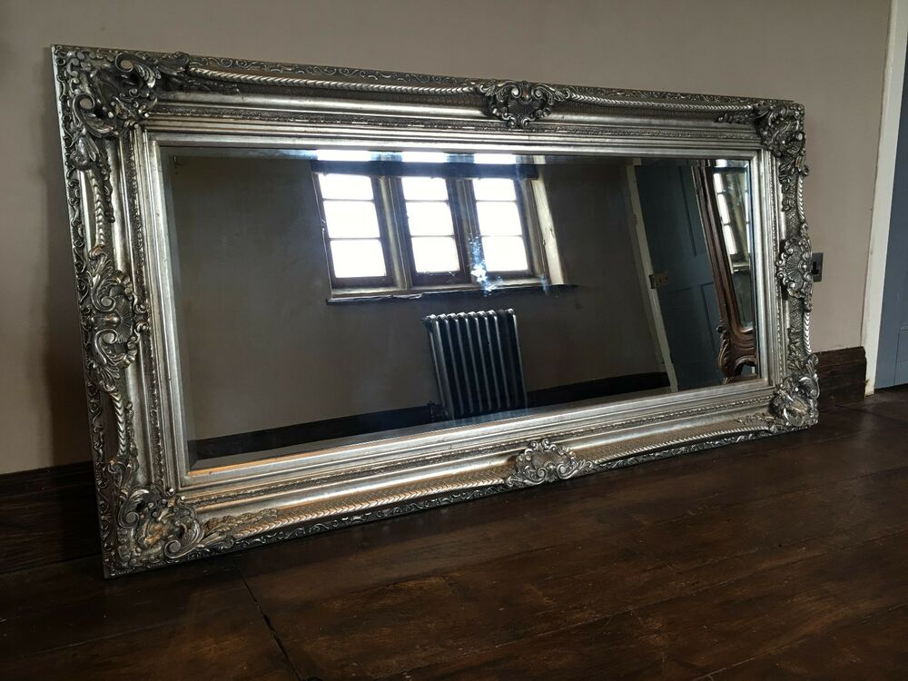 Antique Silver Ornate Large French Boudoir Wood Overmantle: large wooden mirrors for sale