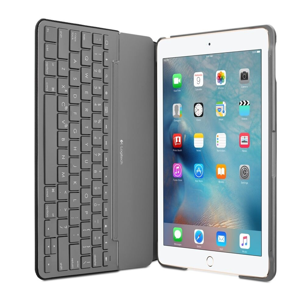 logitech canvas wireless bluetooth keyboard folio case apple ipad air 2 black ebay. Black Bedroom Furniture Sets. Home Design Ideas