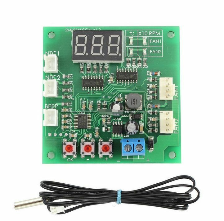 Fan Thermostat Governor 2 Way 4 Wire Pwm 12v 24v 48v Temperature Speed Dispaly Ebay