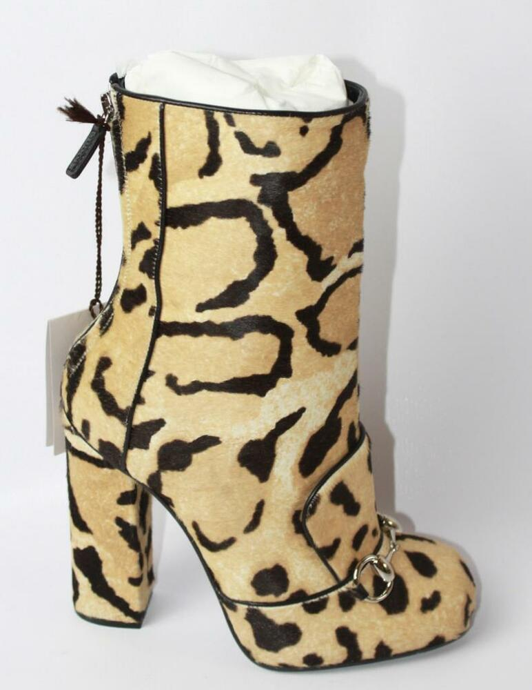 b104567445fe Details about AUTH $1750 Gucci Lillian Horsebit Pony hair Leopard Mid Calf  Booties Boot 37