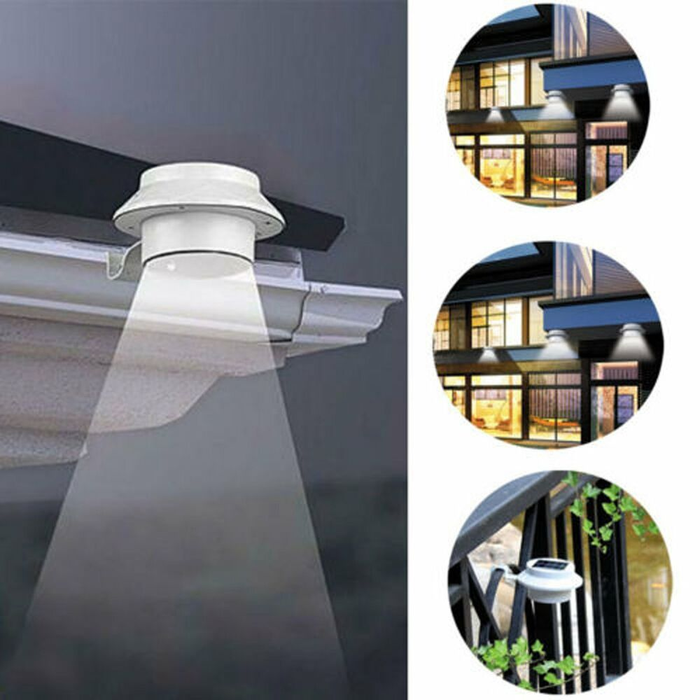 Solar Landscape Lights Outdoor: 3LED Outdoor Solar Powered LED Wall Path Landscape Mount