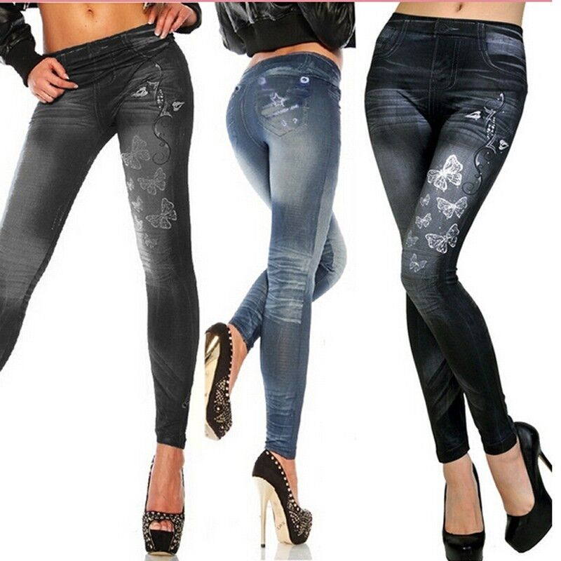 New Womens Denim Look Leggings Jeans Jeggings Stretchy ...