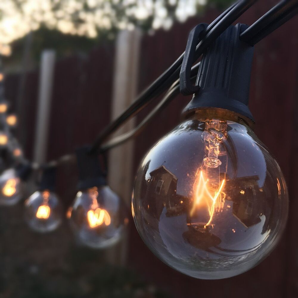 G40 String Lights With 25 Clear Globe Bulbs By Deneve : Jmecia UL 25/50 /75 G40 Globe bulbs Patio light,String Light.Black/Green Cord eBay