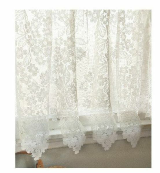 Heritage Lace White Dogwood Curtain Panel 55 Quot Wx84 Quot L Ebay