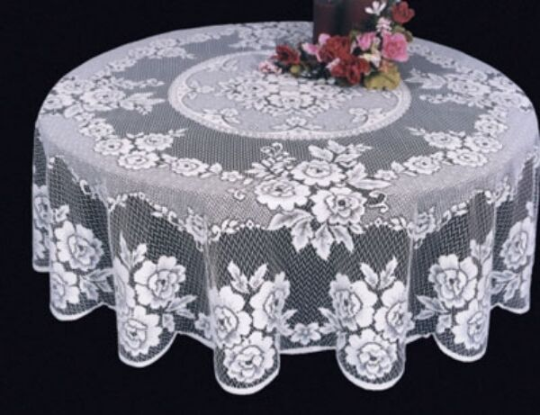 Heritage Lace Victorian Rose White Round Tablecloth 72