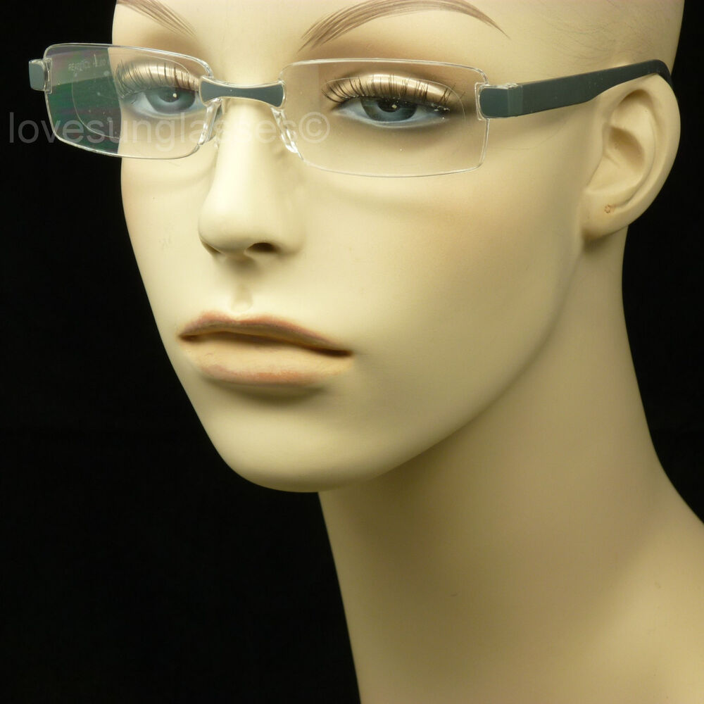 Rimless Glasses With Changeable Arms : READING GLASSES RIMLESS FRAME CLEAR LENS POWER STRENGTH ...