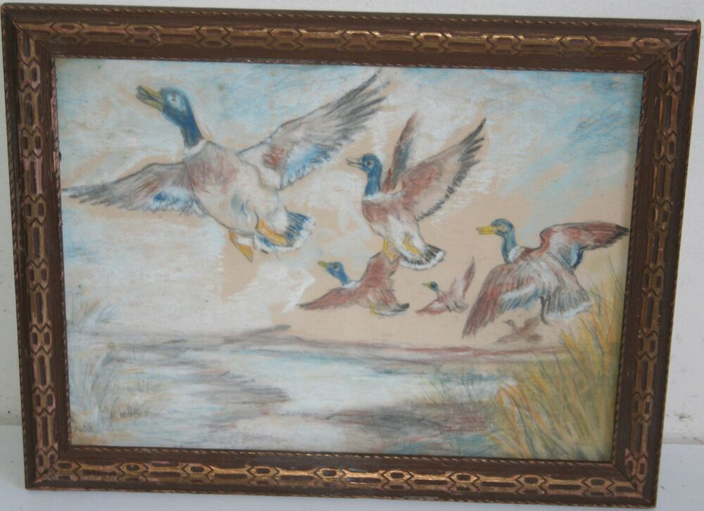antique animal pastel painting wild ducks flying in marsh
