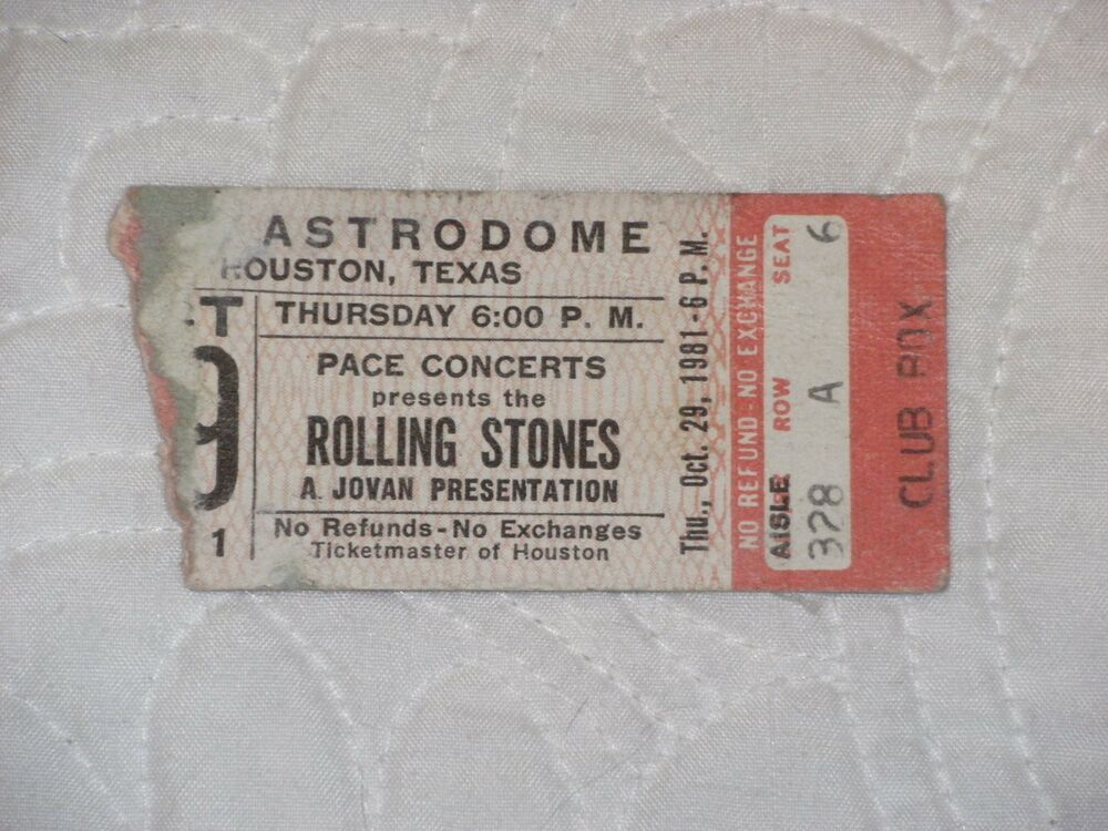 Rolling Stones 1981 Concert Ticket Stub With Zz Top T