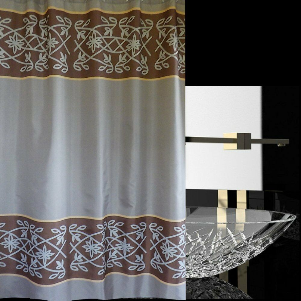 Charming Taupe Brown Yellow Bottom Stripes Shower Curtain New Free Shipping Ebay