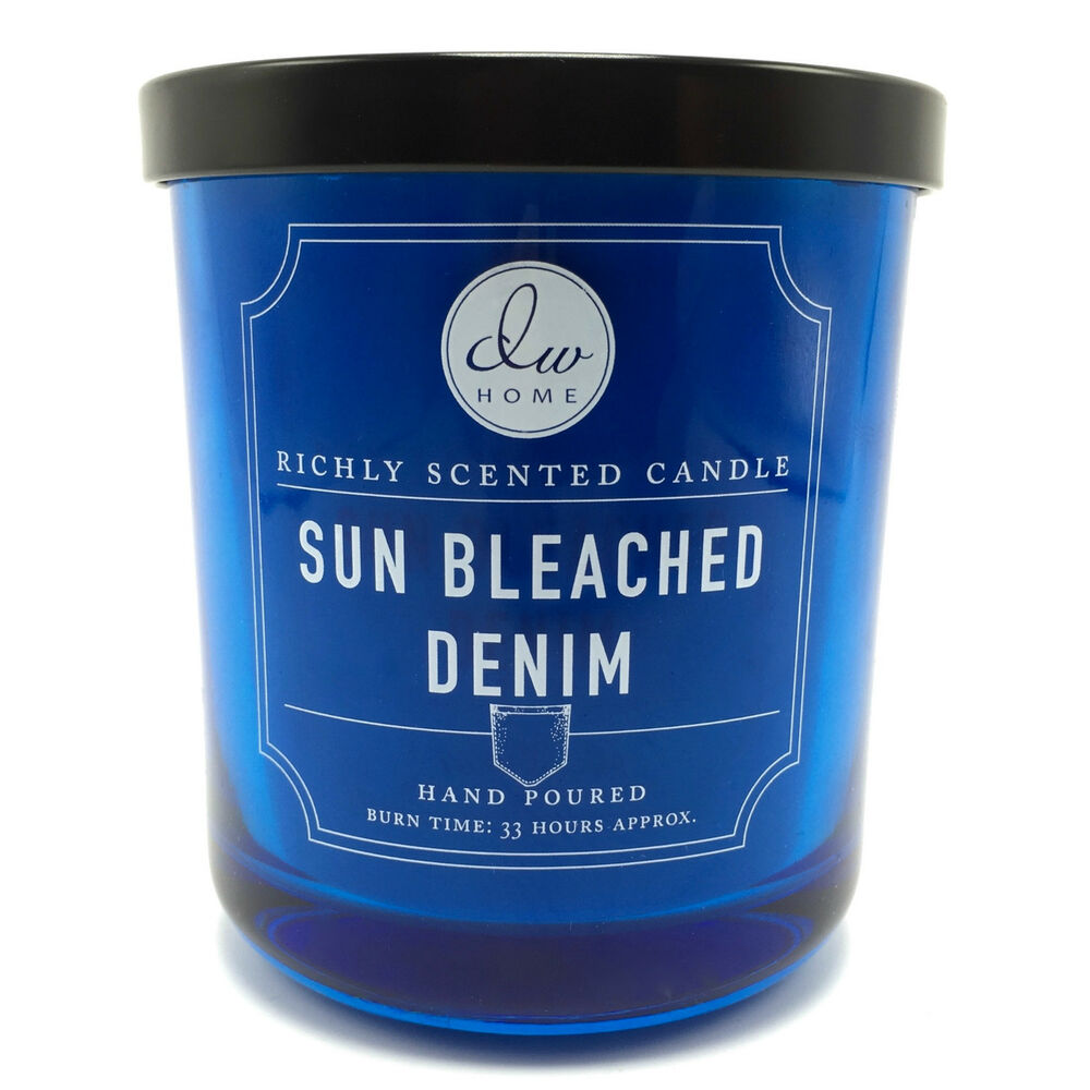 dw home sun bleached denim richly scented candle 33 hour burn time ebay. Black Bedroom Furniture Sets. Home Design Ideas
