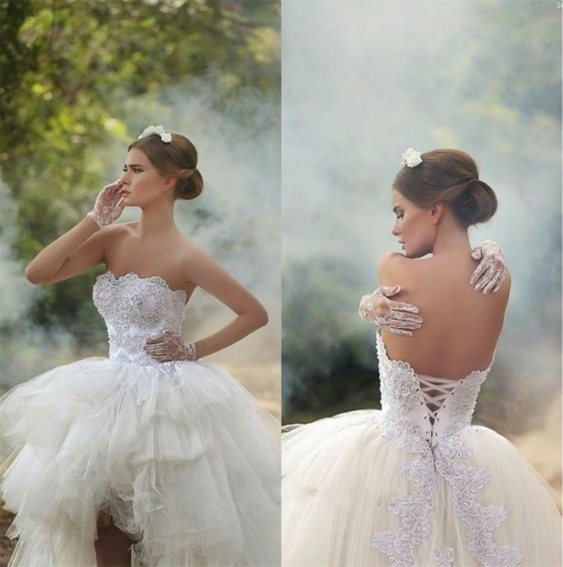 Sexy corset appliques sweetheart wedding gowns high low for Sexy corset wedding dress