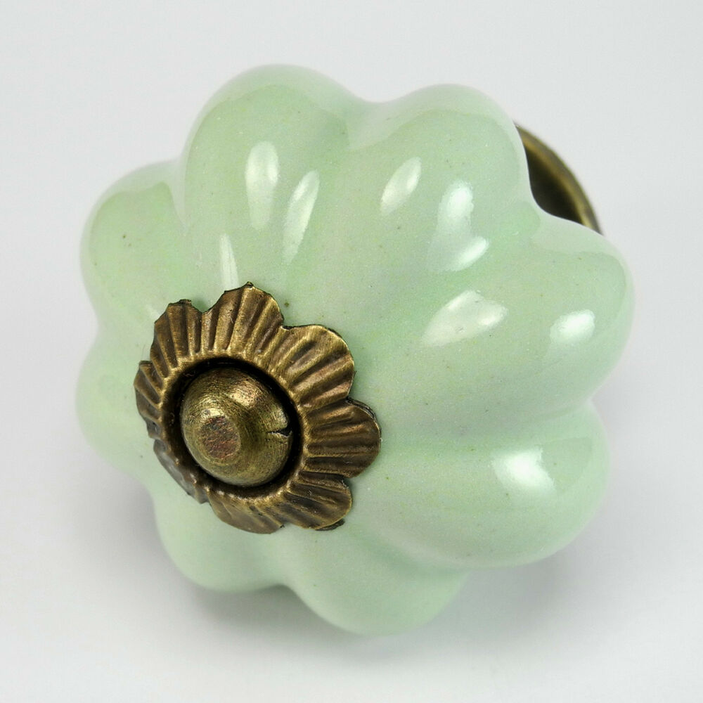 2 Pc Green Ceramic Vintage Kitchen Cabinet Knobs Drawer
