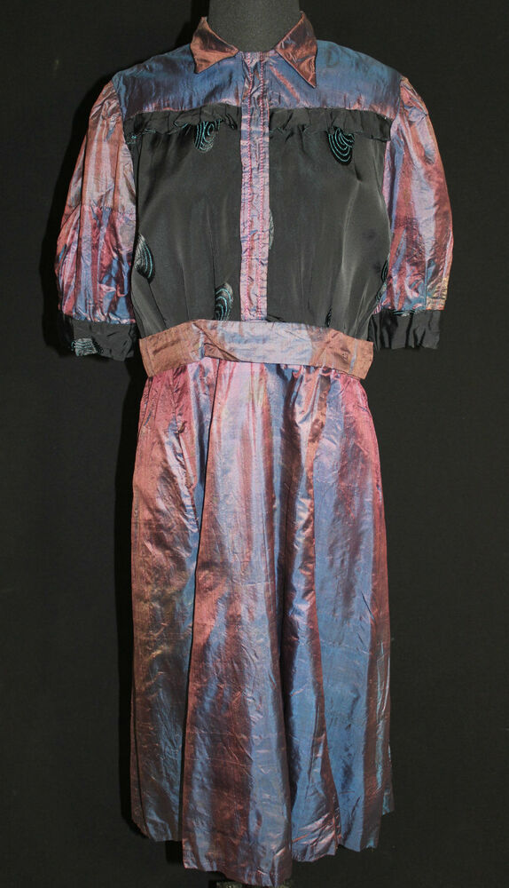 Plus Size French Antique Edwardian Era Purple Silk Satin