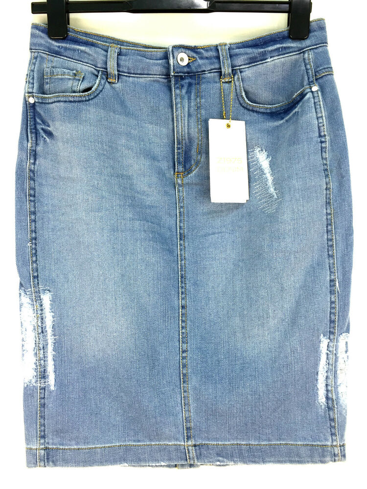 zara ripped denim pencil skirt size large ebay