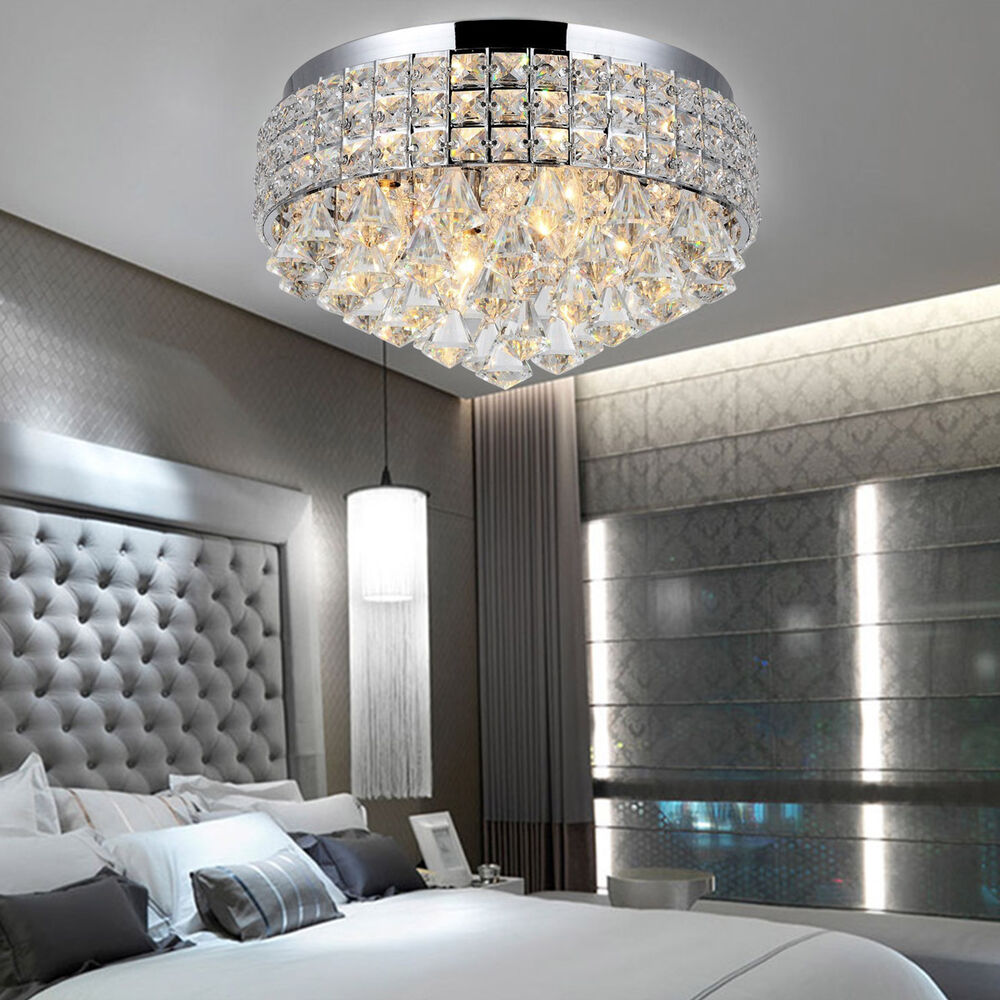 Ceiling Spotlights: Luxury Round Flush Mount Fitting Crystal Droplet Ceiling