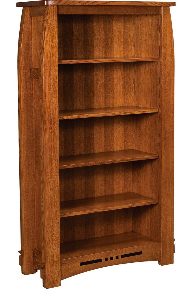 Wood Bookcases Furniture ~ Amish mission colebrook bookcase book shelf solid wood