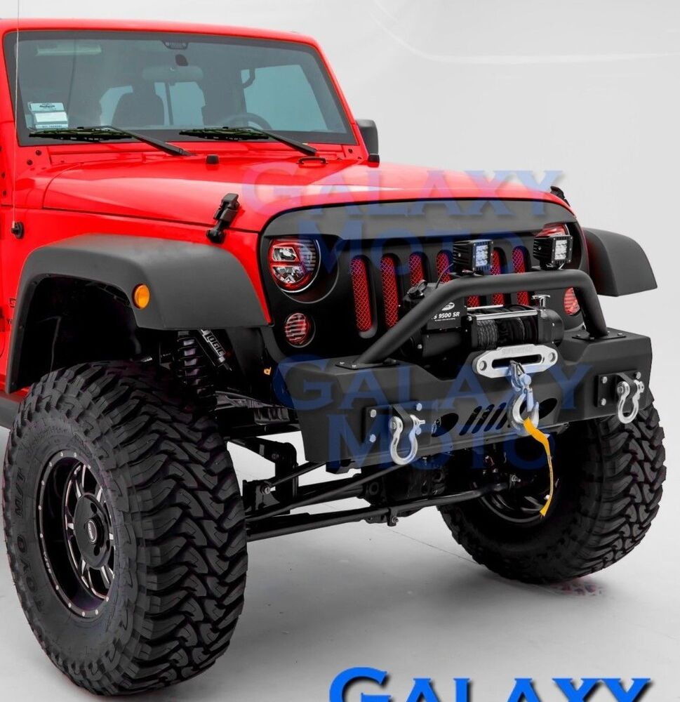 Jeep JK Wrangler Black Stubby Front Bumper+Fog Light Hole