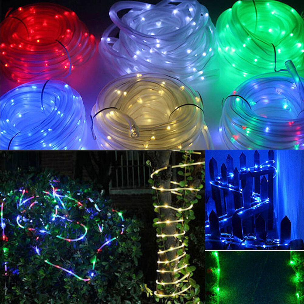 New 50/100 LED Solar Tube Rope String Lamp Yard Outdoor Tree Lawn Path Lighting eBay