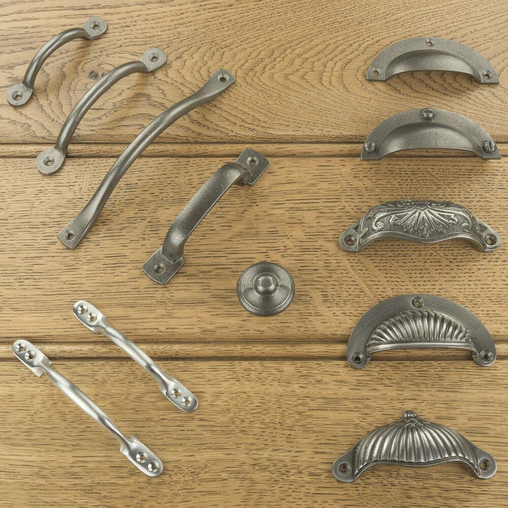Cast iron kitchen cabinet drawer cup pulls handles knobs for Antique knobs for kitchen cabinets