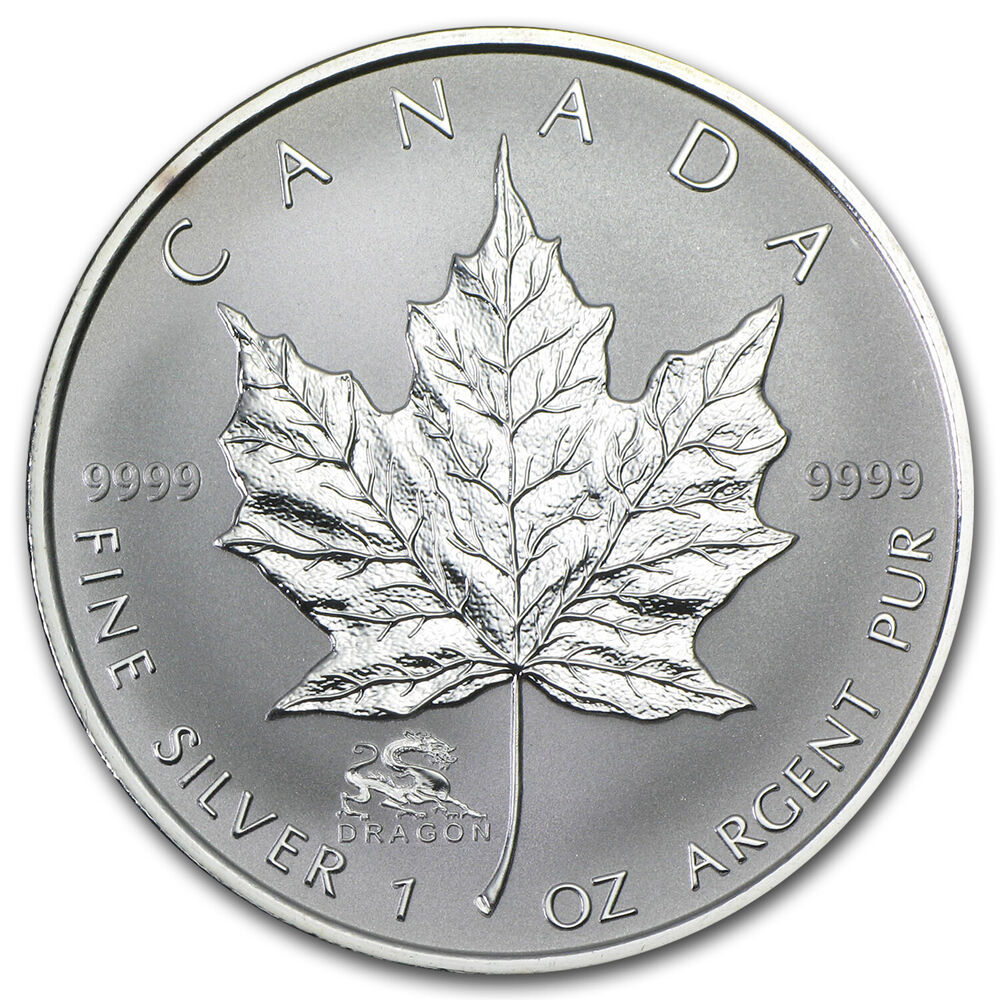2000 1 Oz Silver Canadian Maple Leaf Coin Lunar Dragon