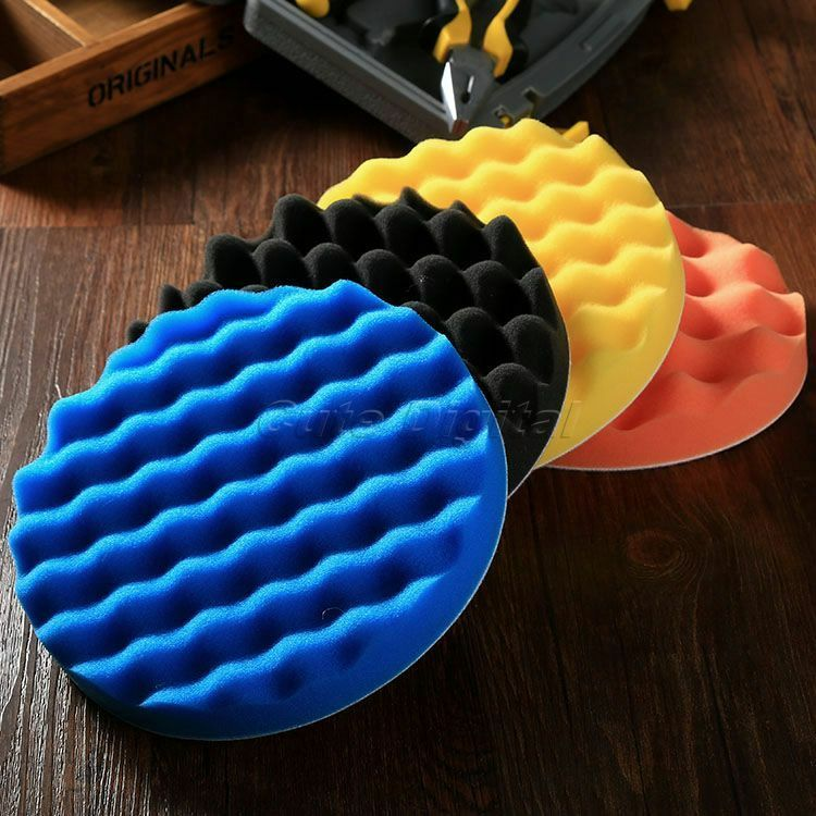 4pcs 7 Inch Sponge Waffle Polishing Buffer Pad Kit For