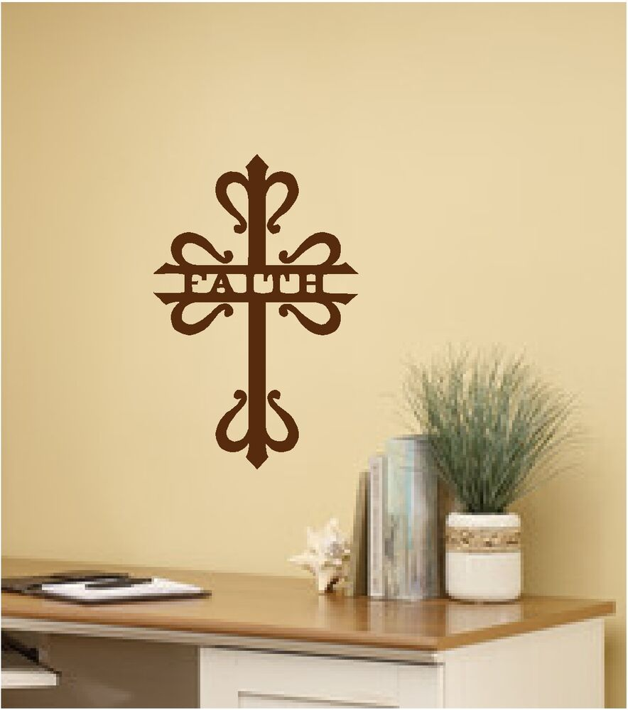 Wall Art Decals For Living Room: Faith & Cross Wall Sticker Wall Art Decor Vinyl Decal