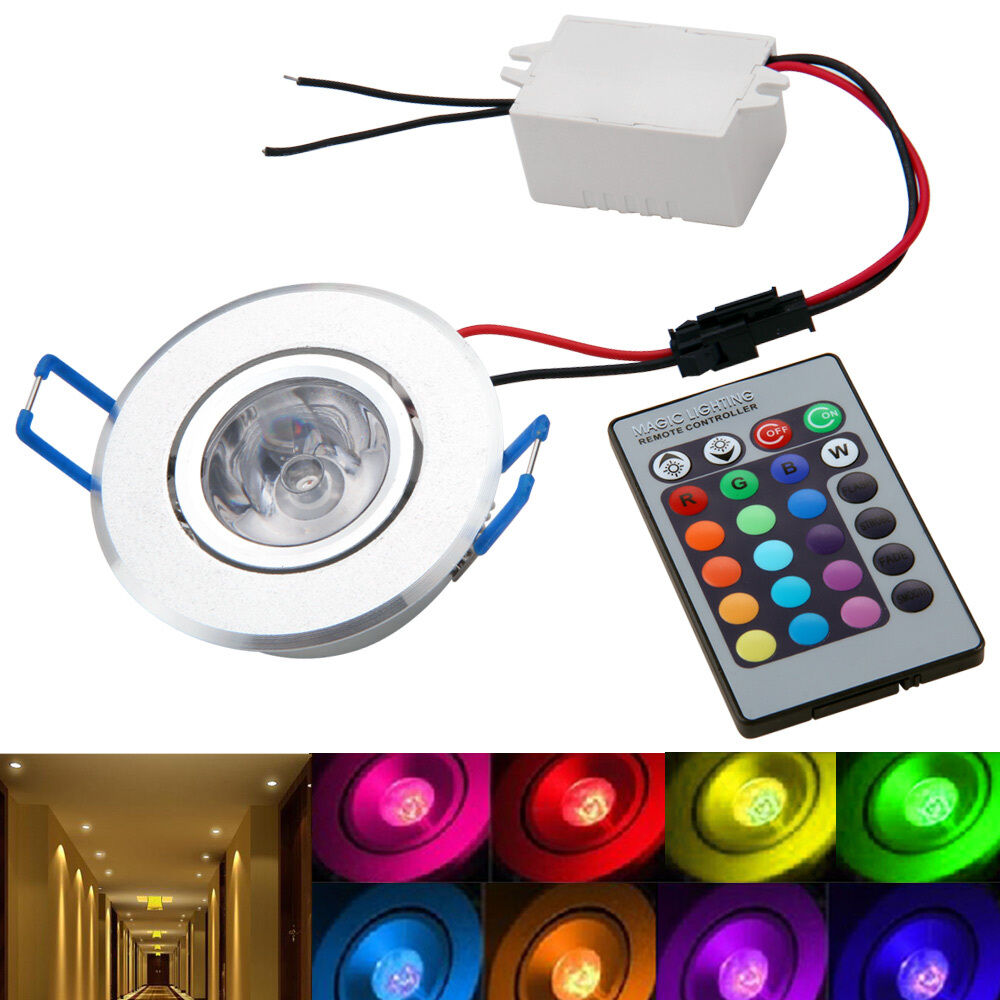 1x3W RGB LED Ceiling Down Light Bulb Downlight High Power + Remote DC12V : eBay