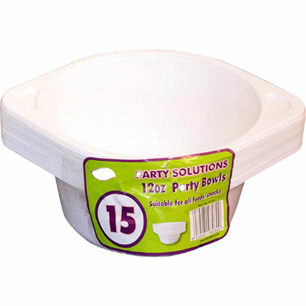 15 x PLASTIC BOWLS WITH HANDLES SALAD SOUP CEREAL FRUIT ...