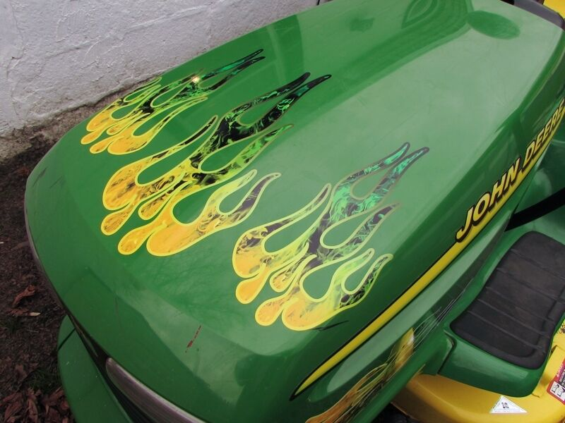 Garden Pulling Tractor Decal : Flame decals green yellow fire for john deere lawn