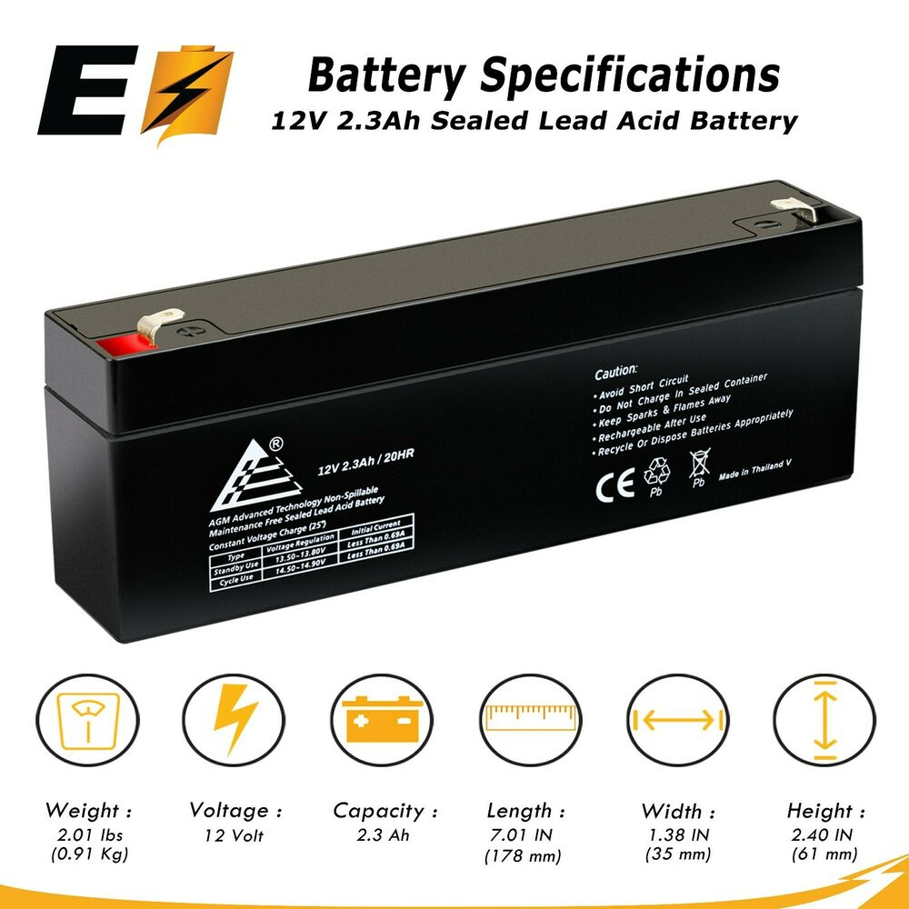 new 12v 2 3ah np2 3 12fr replacement fire retardant sealed lead acid battery ebay. Black Bedroom Furniture Sets. Home Design Ideas