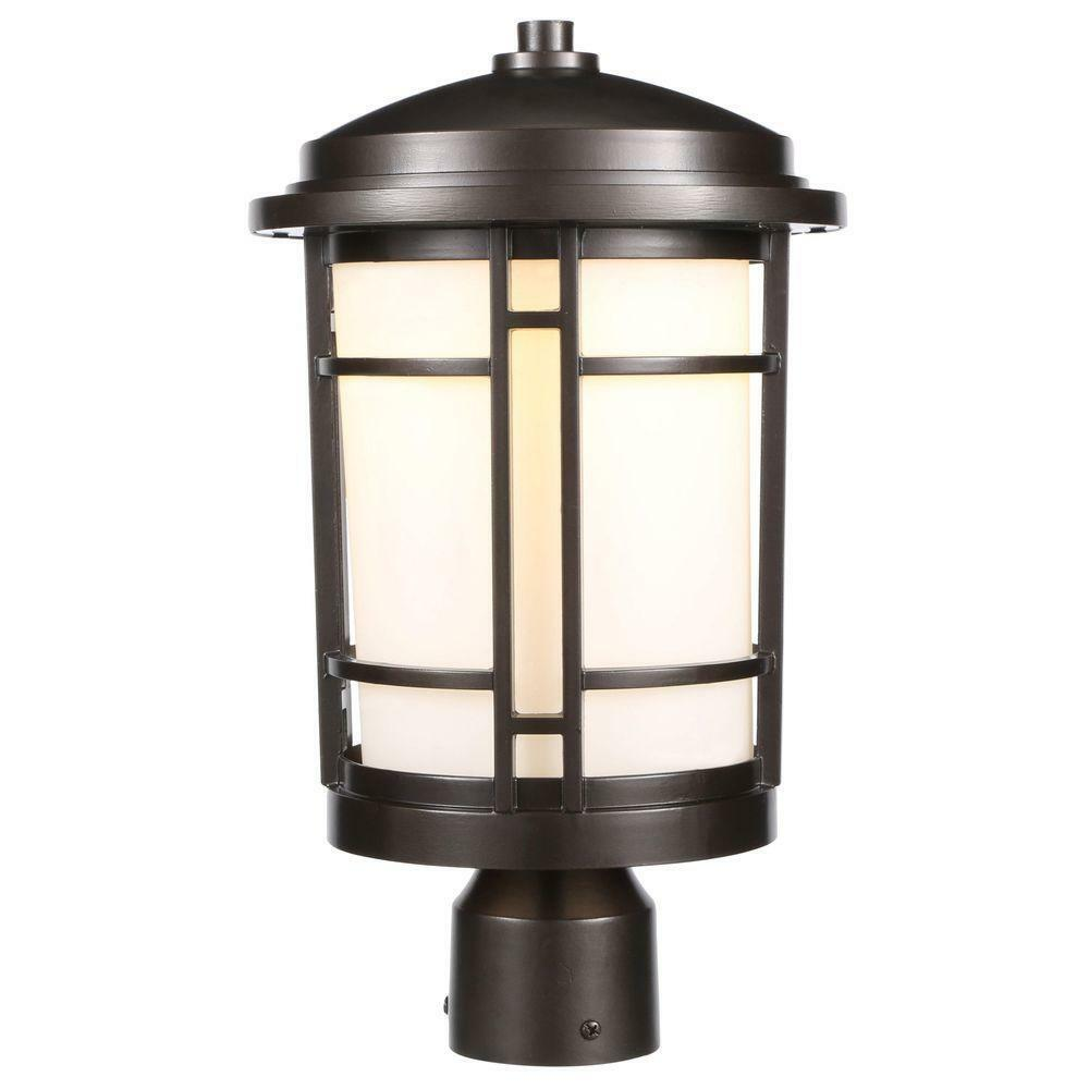 Outdoor Post Lights Led: World Imports 9 In. Burnished Bronze Outdoor LED Post